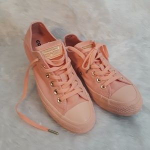CONVERSE pale coral and gold sneakers